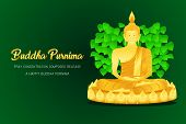 Happy Buddha Purnima Monk Phra Buddha Pray Concentration Composed Release Front Of Pho Leaf Religion poster