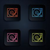 Color Neon Line Vinyl Player With A Vinyl Disk Icon Isolated On Black Background. Set Icons In Color poster