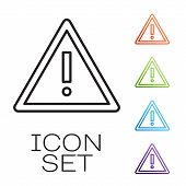 Black Line Exclamation Mark In Triangle Icon Isolated On White Background. Hazard Warning Sign, Care poster