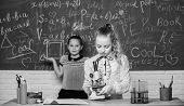 Little Scientist Work With Microscope. Little Girls In School Lab. Microscope. Testing Your Blood. C poster