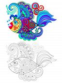 Illustration Of Stylized Fantastic Fish With Celtic Maritime Ornaments. Colorful And Black And White poster