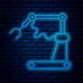 Glowing Neon Line Industrial Machine Robotic Robot Arm Hand Factory Icon Isolated On Brick Wall Back poster