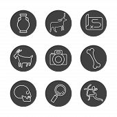 Anthropology And Archeology Icons Set For Science, School, University. Linear Style. Camera, Skull,  poster