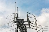 High Voltage Electrical Substation Tower With Open Electrical Isolator Or Electrical Isolation Switc poster