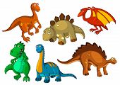 Dinosaur Animal Cartoon Icon Set. Funny Dino Prehistoric Reptiles And Predators. Jurassic Monster, B poster
