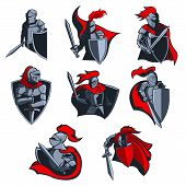 Knight Vector Icons Of Medieval Warriors With Armour Helmets, Swords And Shields, Red Capes And Plum poster