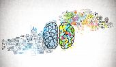 Bright Brain Sketch And Business Plan Icons Drawn On Concrete Wall. Concept Of Creative Thinking And poster