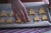 Tasty Cookies Lying On A Baking Sheet. Ready Shortbread Cookies Lying On A Baking Sheet. poster