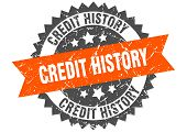 Credit History Grunge Stamp With Orange Band. Credit History poster