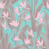 Tropical Crane Flower Vector Seamless Pattern. Jungle Plant Paradise Tropical Summer Fabric Design.  poster