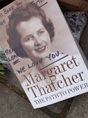 LONDON - UK, April 08: Flowers and messages in front of Margaret Thatcher's residence on Chester Squ