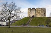 YORK, UK - MARCH 31: Front entrance to Clifford's Tower. The tower's original mound dates back from
