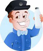 stock photo of milkman  - Drawing Art of Happy Cartoon Salesman Character Vector Illustration - JPG
