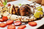image of banana split  - Fresh banana split with ice - JPG