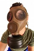 image of polution  - architect with gas mask - JPG