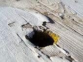 picture of bleachers  - Old weathered wood bleacher at the local high school - JPG