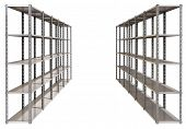 picture of shelving unit  - A regular assembled metal warehouse shelving unit on an isolated background - JPG