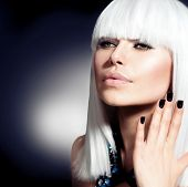 Fashion Vogue Style Model Portrait. Beauty Woman with White Hair and Black Nails