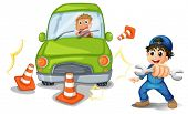 foto of kinetic  - Illustration of a car accident and a mechanic on a white background - JPG