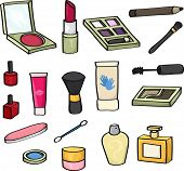 picture of nail-design  - Set of 18 cartoon cosmetics for use in your designs. Set includes: blusher, lipstick, eye shadow, mascara wand, makeup brushes, eye liner pencil, nail varnish, lip gloss, hand cream, perfume, baby bud, and nail file.