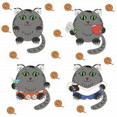 Cat cartoon caracter vector set