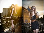 foto of short legs  - Fashion model on the street with sunglasses and short black dress - JPG