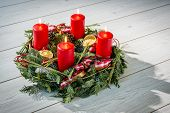 Advent Wreath With Burning Red Candles
