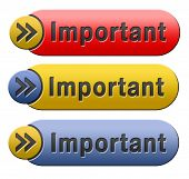 important information very crucial message essential and critical info button or icon