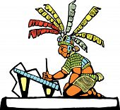 stock photo of scribes  - Mayan Scribe designed after Mesoamerican Pottery and Temple Images - JPG