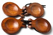 picture of castanets  - two pairs of Spanish Castanets on white background - JPG
