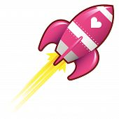 pic of missles  - Heart or love icon on pink retro rocket ship illustration good for use as a button in print materials or in advertisements - JPG