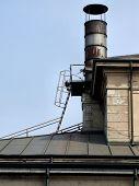 stock photo of crematory  - vintage chimney of a crematory - JPG