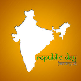 picture of asoka  - Graphic design Republic Day in India related in shape of country silhouette - JPG