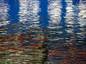 picture of swim meet  - Red Blue white Color pattern shimmers and reflects in ripples of water making a psychedelic pattern - JPG