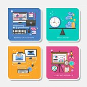foto of newsletter  - set of flat design vector illustration for business development time is money newsletter marketing research - JPG