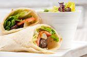 foto of sandwich wrap  - kafta shawarma chicken pita wrap roll sandwich traditional arab mid east food  - JPG