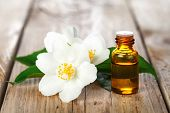 stock photo of jasmine  - Jasmine essential oil and flowers on wooden table background - JPG