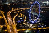 picture of singapore night  - Singapore traffic and flyer at night, aerial view