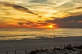 stock photo of florida-orange  - Beautiful sunset in Panama City Florida over the Gulf of Mexico