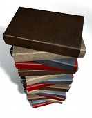 stock photo of leather-bound  - A single pile of generic unbranded leather bound books on an isolated studio background - JPG