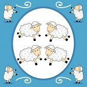 picture of counting sheep  - Some funny dancing sheep over blue and white background - JPG