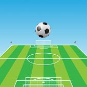 Football pitch-Soccer ball-3d
