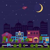 picture of moon stars  - City street scape night background with buildings and stars and moon vector illustration - JPG