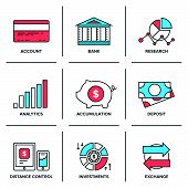stock photo of accountability  - Flat line icons set of banking account financial analytics currency exchange money investment and credit card deposit - JPG