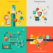 stock photo of social-security  - Finance flat icons set with payment methods financial security analytic business cooperation isolated vector illustration - JPG