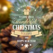 stock photo of christmas greetings  - Christmas greeting card with holiday still life on background - JPG