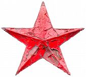 stock photo of iron star  - Iron socialist red star isolated on white background - JPG
