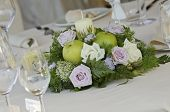 image of centerpiece  - flower centerpiece bouquet with candle for wedding table