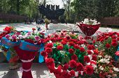picture of guardsmen  - Flowers to the eternal fire at the memorial in Park of 28 - JPG