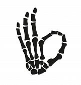 Picture of illustration of a skeleton hand. Gestures and symbols.